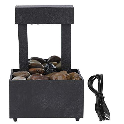 Fuente de Mesa Led USB Fuente de Escritorio de Agua Iluminada Interior con Piedras Adorno para El Hogar para La Decoración del Hogar de La Oficina