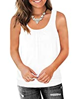 Traleubie Round Neck Workout Tank Tops for Women Casual Sleeveless Shirts Loose Fit White M
