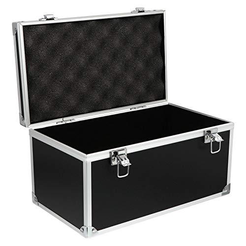 DOITOOL Aluminium Hartschalenkoffer Aktentasche Werkzeugkasten mit Schaumstoffeinsatz Hartschalenkoffer Tragbarer Teilekasten 29X16cm Schwarz