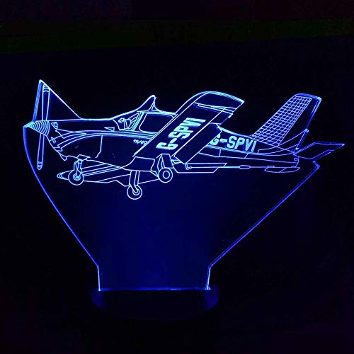 3D-nachtlampje, nachtlampje, ruimteverlichting, touch afstandsbediening in het vliegtuig, 3 AA-batterij, werkt op batterijen, vliegtuig, tafeldecoratie.