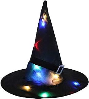 أدى هالوين قبعة ساحرة متوهجة قبعة مهرجان الأشباح الطرف الديكور الدعائم ساحرة قبعة ساحرة متوهجة قبعة ساحرة سوداء