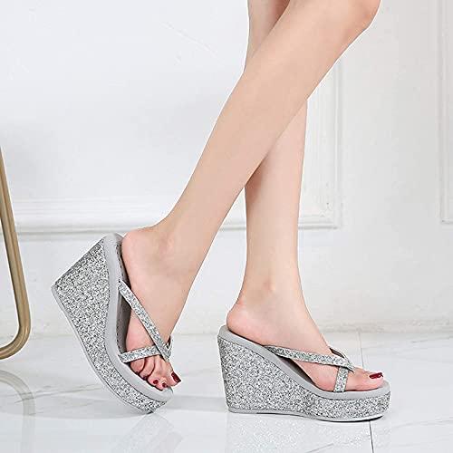 ESACLM Mujer Pendiente de Lentejuelas de Diamantes de imitación de Verano con Chanclas Zapatillas de cuña Brillantes Transpirables Sandalias de Playa,Plata,39 EU