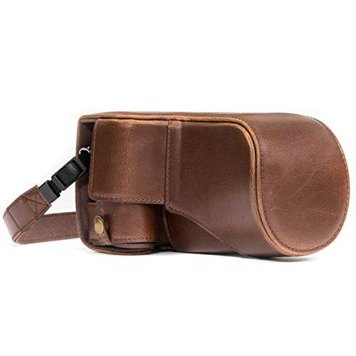 MegaGear Ever Ready MG1180 - Funda de Piel con Correa para cámara Canon EOS M6, Color marrón Oscuro