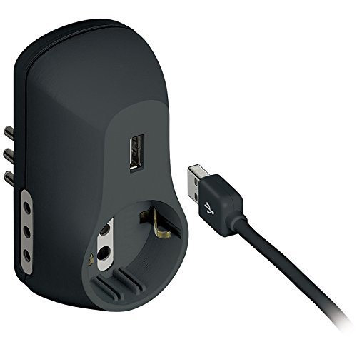 BTicino S3613GU Multipresa Adattatore B3 con Presa USB, 1.5A, Nero