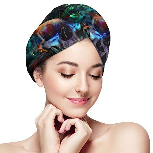 Bettiboy Flame Sugar Skull and Flowers Microfiber Hair Towel Wrap for Women Super Absorbent Quick Dry Hair Turban for Drying Curly Spa Towel 11 inch X 28 inch
