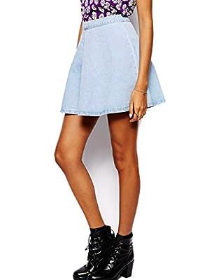 May&Maya Women's Denim Mini Destroyed A-line Skirt Stone Wash Light Demin Skater Skirt