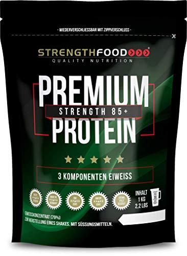 Strengthfood 3 Komponenten Eiweiss Protein 85+, Molkeneiweißkonzentrat, Calciumcaseinat, Hühnereieiweiß (Vanille)