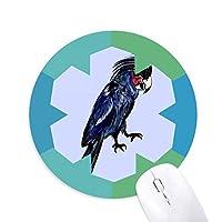 ディープブルーのオウムの鳥 円形滑りゴムの雪マウスパッド