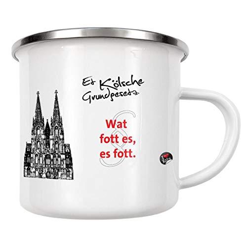 artboxONE Emaille Tasse WAT FOTT ES ES FOTT weiß von KoenigReich - Emaille Becher Städte/Köln