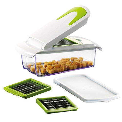 Vegetable and Fruit Chopper with 3 Stainless Steel Blades, Adjustable Slicer & Dicer With Storage Container and Non-Skid Base, by...