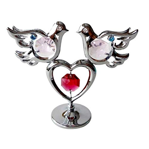 Crystocraft Doves and Heart Ornament with Swarovski Crystals