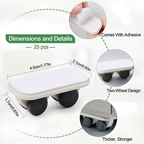 41gdjkbojnL. SL500  - Kalolary 25 piezas Rueda giratoria autoadhesiva Ruedas para muebles Mini ruedas autoadhesivas Tranquilo resistente al desgaste, para Muebles pequeños, bote de basura, caja de almacenamiento