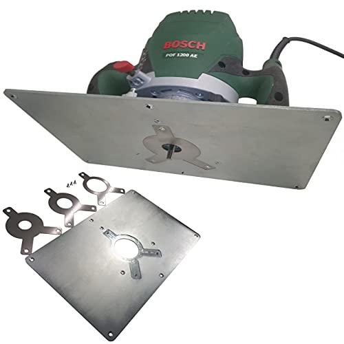 Tuneon Platte Einlegeplatte Stahl Frästisch für Bosch POF 1400 ACE 1200 AE Oberfräse Einlegeringe