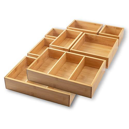 itena® Bambus Schubladen Organizer mit herausnehmbaren Trennwänden I 10-teiliger Schreibtisch-Organizer I innovatives Schubladen-Ordnungssystem für Büro, Küche und Bad I Doppelpack (27x45,5x5,5cm)