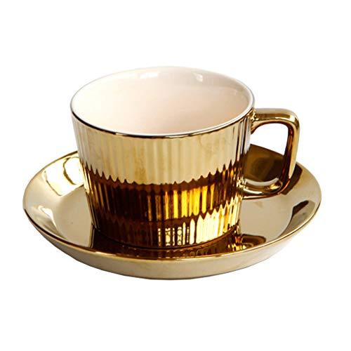 F Fityle Porzellan Kaffeetassen Espressotasse Keramikbecher Kaffeebecher mit Untertassen, Kaffee Set - Gold