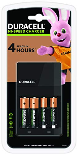 Duracell caricabatterie - Ricarica in 4 ore, con 2 batterie AA e 2 batterie AAA