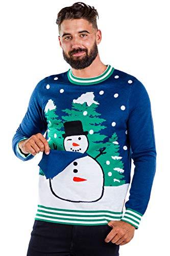 Men's Peekaboo Snowman Sweater - Funny Snowman Christmas Sweater: L Blue