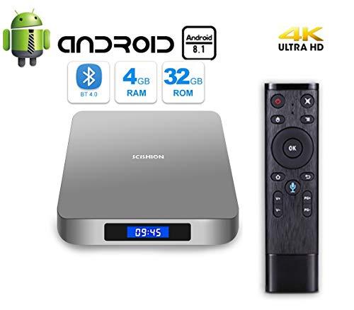 Android 8.1 Receptor de TV, Android TV Box con 4 GB de RAM 32 GB ROM RK3328 Quad-Core Soporte Full HD 4K / BT 4.0/2.4G WiFi/USB 3.0 Smart TV Box