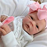 Realistic Reborn Baby Dolls, 18 Inch Lifelike Soft Vinyl Baby Dolls, Sweet Girl Reborn Baby Dolls with Clothes and Bottles Gift for Kids Age 3+ (A)