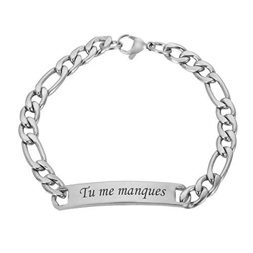 HOUSWEETY Bracelet Lien Poignet Chaine Maille Gourmette Poli - Plaque Service Gravure Personnalisee Offre