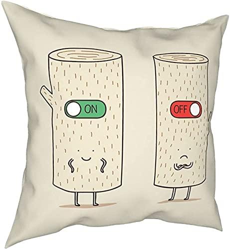 Log On and Log Off - Funda de almohada cuadrada para toalla de cara, 45 x 45 cm