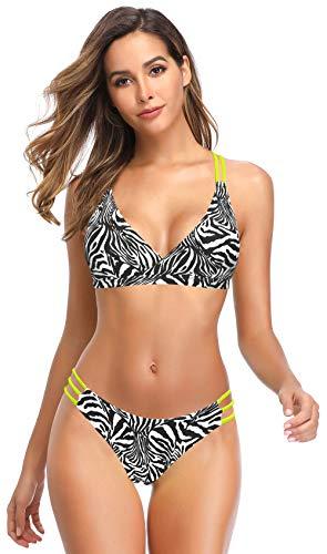 SHEKINI Costume da Bagno Leopardato Sexy per Donna Top Imbottito con Scollo a V. Cut out Pantaloni a Forma di U Baywatch Bikini a Due Pezzi (Strisce zebrate, S)