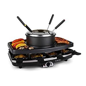 Klarstein Entrecote Raclette - Fondue, Parrilla, Barbacoa-Party, 1100W, regulador de calor continuo, 8 sartenes, Antiadherente, 6 tenedores Fondue, Grill bajo grasa, Negro