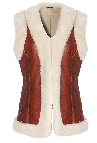 Hollert Lamsvachtvest Heidi Cognac van 100% Merino schapenvacht outdoor vest echt leer suède