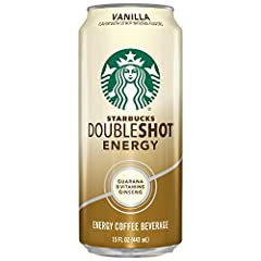 Pack of twelve, 15 ounces per can Starbucks Doubleshot Energy Vanilla 210 calories per can Grab a can of Starbucks Doubleshot Energy Coffee and stay alert