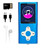 Mp3 Player,Music Player with a 16 GB Memory Card Portable Digital Music Player/Video/Voice Record/FM Radio/E-Book Reader/Photo Viewer/1.8 LCD (Blue)