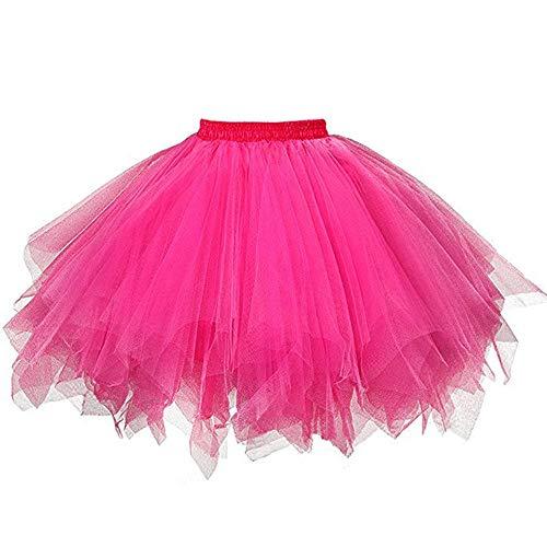VEMOW Tutu Damenrock Cosplay Tüllrock 50er Kurz Ballet Tanzkleid Unterkleid Crinoline Petticoat Crinoline für Rockabilly Kleid Partykleder (Hot pink, 3XL)