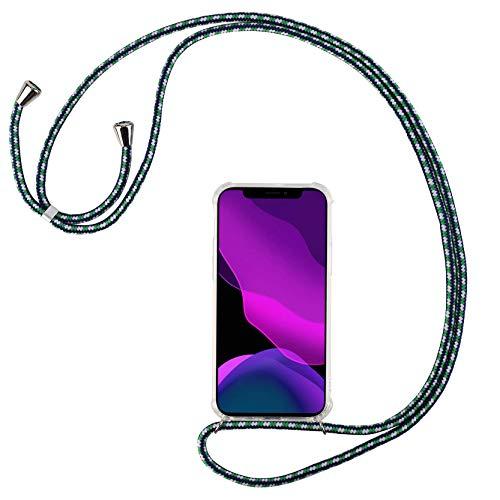2ndSpring Cover con Collana Compatibile con Samsung Galaxy A6 Plus 2018/A9 Star Lite,Case con Laccio per Il Collo Custodia con Cordino,Verde Bianco Blu