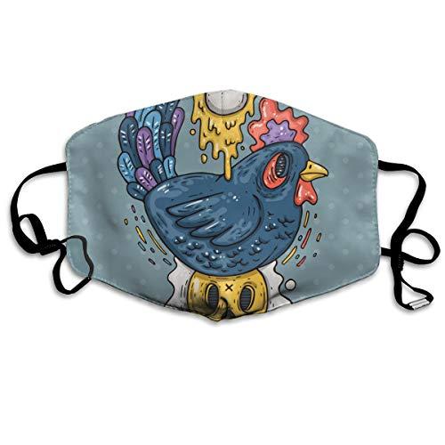 Dnwha polyester masker, donkere kip en gebakken eieren cartoon, stofdicht masker, met knoppen om de dichtheid aan te passen, geschikt voor iedereen