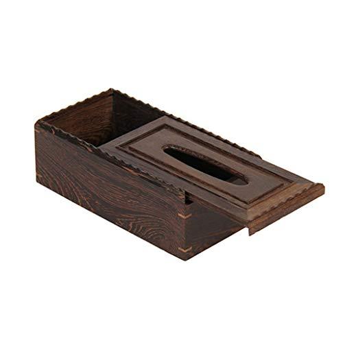 Multifunción titular de la caja de pañuelos de madera cubierta rectangular titular de pañuelos de madera titular de la caja de pañuelos faciales titular de la caja de pañuelos