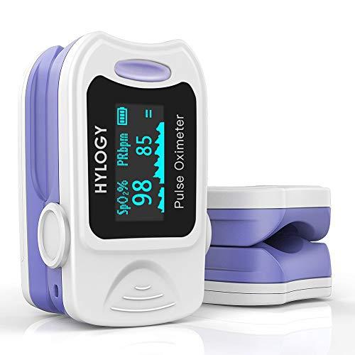 Oxímetro de Pulso, HYLOGY Pulsioxímetro de dedo, Portátil Pulsómetro Fácil de leer Pulsioxímetro de dedo Para el cuidado de la salud familiar (Blanco) (blanco)
