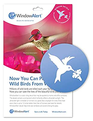 WindowAlert Hummingbird Anti-Collision Decal - UV-Reflective Window Decal to Protect Wild Birds from Glass Collisions