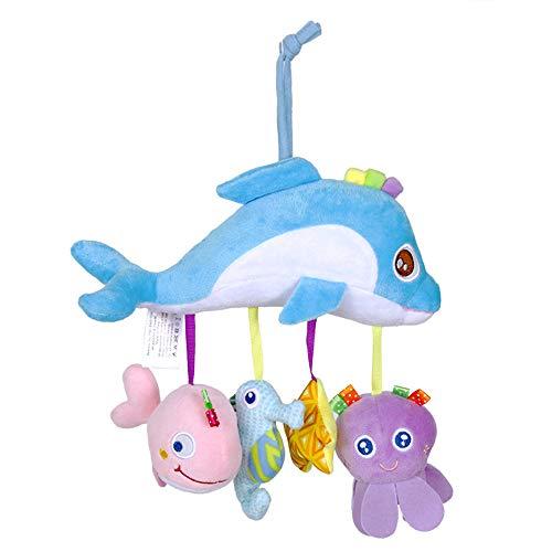 QHWJ Rassel Spielzeug für Kinderwagen Krippe Nette Querbalken Krippe Hängen Baby Plüsch Spirale Aktivität Spielzeug Kinderwagen Plüsch Auto Hängen Spielzeug für 0-24 Monate,Dolphin