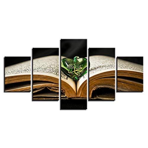 ARXYD Quadro su Tela Stampa HD Pittura Murale 5 Pezzi Sacro Libro Allah Sacro Ciondolo Sacro Poster Musulmano Quadro Decorazione Domestica Modulare 200X100Cm - Immagine di Arte di Stampa Murale dell