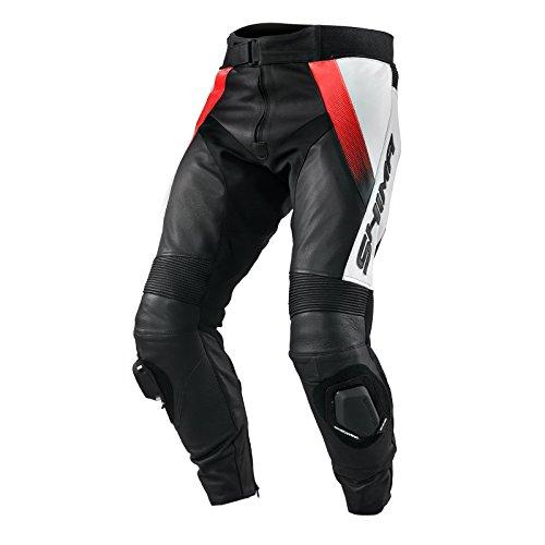 Shima STR PANTALÓN Rojo Fluo (Naranja), Cuero Moto Racing Perforado Deporte Moto Traje - Pantalones (Tallas: 46-56)