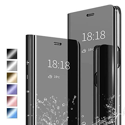 ANWEN Hülle für Samsung Galaxy S20 Fan Edition Handyhüllen,Flip Handy Hülle Cover PU+PC Schutzhülle Transluzent View Spiegel Anti-Schock Hülle mit Standfunktion für Samsung Galaxy S20 FE-Schwarz