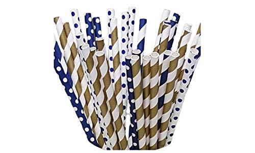 125 Navy and Gold Paper Straws - Party DIY, Mason Jars, Baby Shower, Chevron and Polka Dots
