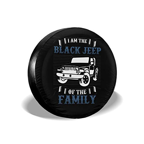 """I'm The Black Jeep of The Family Custom Tire Cover Waterproof Dust-Proof Wheel Tire Cover Fit for Jeep 17"""" for Diameter 31""""-33"""""""