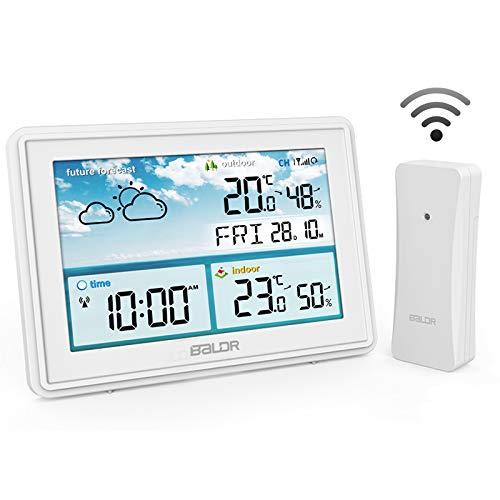 ROVLAK Wetterstation Funk mit Außensensor Temperatur Wettervorhersage mit Farbdisplay Innen und Außen Thermometer Hygrometer mit Uhrzeitanzeige, Wecker, Feuchtigkeits- und Temperatur Überwachung