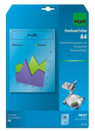 SIGEL IF110 OHP-Folien / Overhead-Folien für InkJet / Tintenstrahldrucker A4, 10 Blatt
