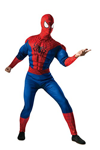 Rubie's Costume Men's Marvel Universe, The Amazing Spider-man 2 Deluxe Muscle-chest Spider-man Costume, Multicolor, X-Large