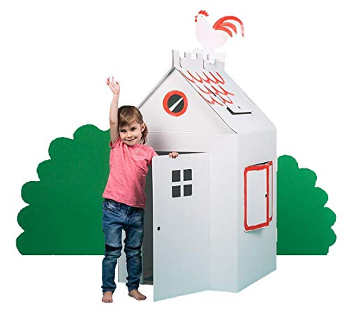 Bibabox | stabiles Bastelkarton Spielhaus | XXL Papphaus | Kartonhaus | Pappspielhaus | 100% Öko | 100% Made in Germany