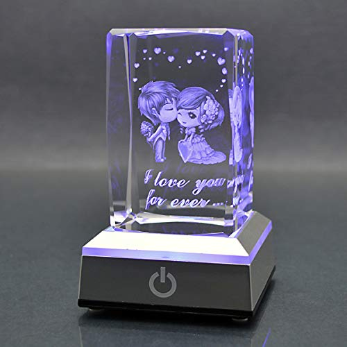 HOCHANCE 3D Sweetheart I Love You Forever Crystal with LED Colourful Light Base,Birthday Present for Girlfriend Gift WomanAunt Wife Mom,Best Amazing Cute Relationship Long Distance Friendship