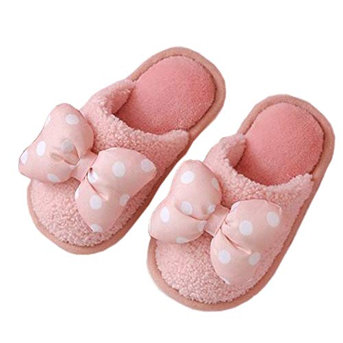 [Atexiu] キッズ ルームシューズ 女の子 スリッパ 室内履き あったか シューズ 冬 防寒 キッズ シューズ 可愛い リボン飾り 子供靴 ピンク 15.5cm