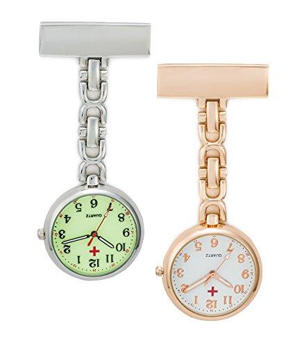 SEWOR reloj para Personal médico colgante reloj de bolsillo – con profundo azul marca piel caja gran regalo (Oro rosa)