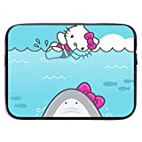 Laptop Sleeve Bag Hello Kitty and Shark Notebook Tablet Bag for 13-15 Inch MacBook Pro/MacBook Air/Notebook Computer